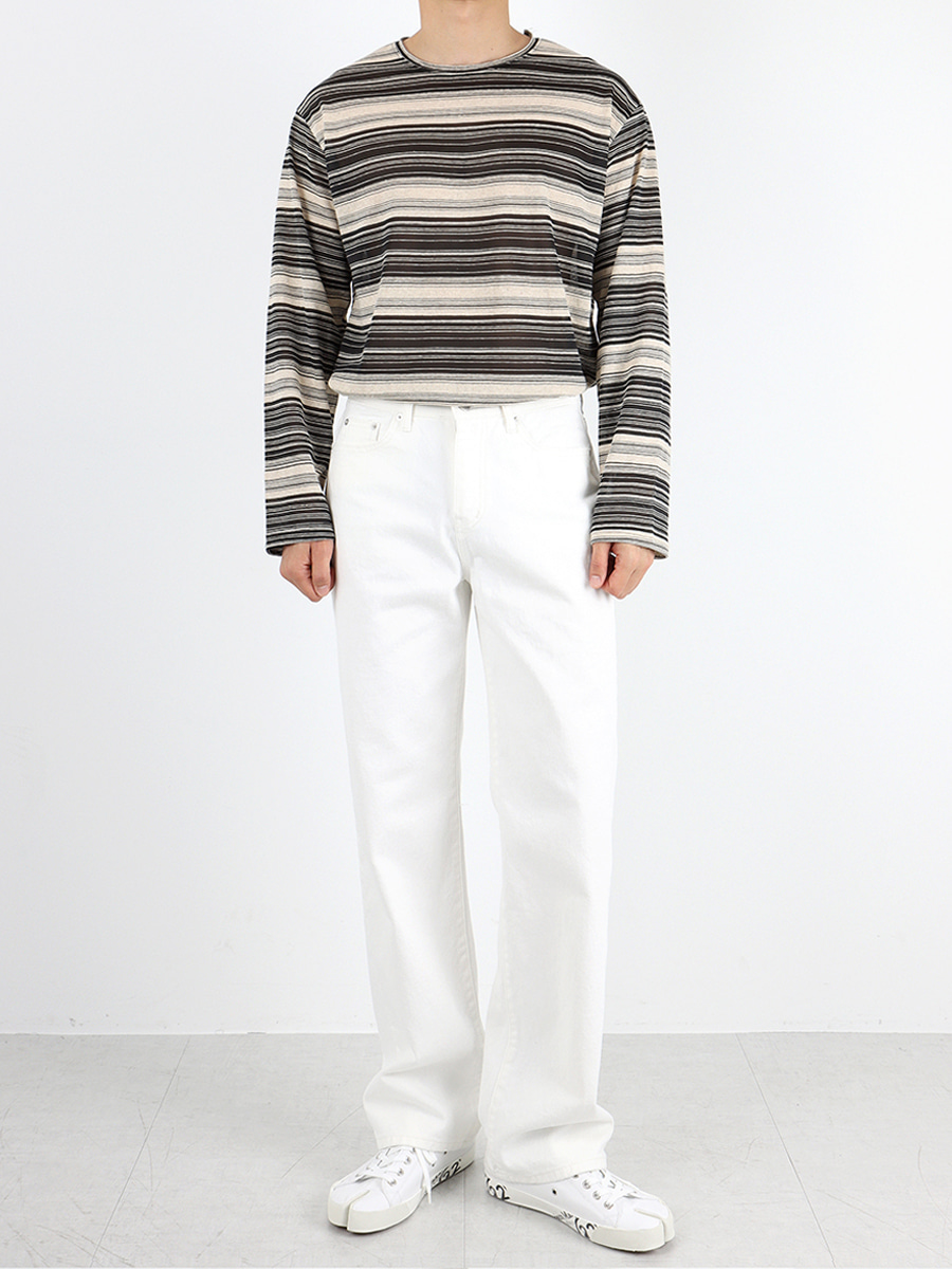 stripe linen long sleeve knit