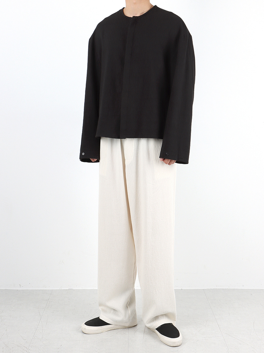 linen wide banding pants