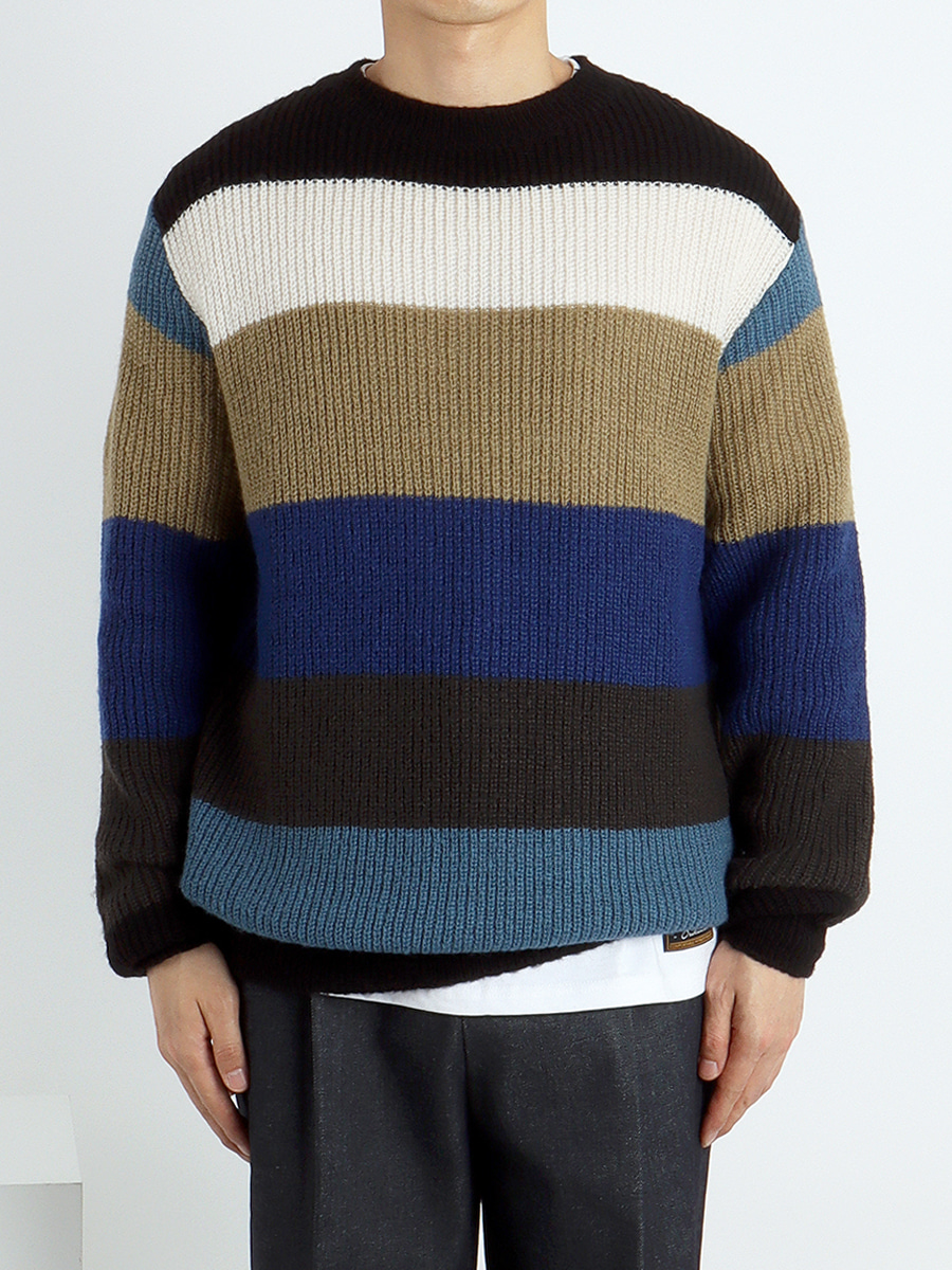 Mohair colorful stripe knit